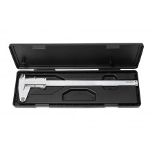 Stainless steel vernier caliper (0-200mm, 0.02mm, inner Ø, outer Ø + depth gauge), in a plastic case