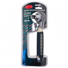 Adjustable ratcheting socket wrench, with rubber handle (6-24mm)