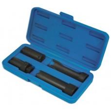 Diesel truck injector socket set, 4pcs (4 teeth: L-70mm, thread m14х1.5mm, 4 teeth: L-72mm,1/2'', 4 t