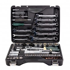 Tool set 82 + 6pcs (1/4'', 1/2'', 6 point +bit-socket 1/4''T40, bits 5/16'': M8,10,12,14, sockets 1/2'':