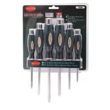 Magnetic go-through screwdriver set ''Profi''6pcs (SL:5.5х100,6.5х125,8.0х150mm, PH:1х75,2х100,3х125m