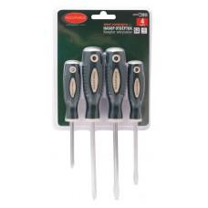 Magnetic screwdrivers set ''Profi''4pcs (SL:5.5х100, 6.5х125mm, PH:1х75, 2х125mm), in blister