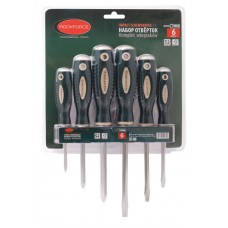 Magnetic screwdrivers set ''Profi''6pcs (SL:5.5х100, 6.5х125, 8.0х150mm, PH:1х75, 2х100, 3х125mm), in