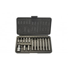 Set of bits Hex with bit holder, 15pcs 1/2''(L:30/75mm,4-8,10,12mm), in a metal case