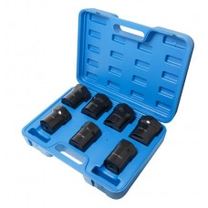 Spindle nut socket set 7pcs (55mm, 6 point, 2-3/8''6R, 2-1/2''6R, 2-3/8''6 point, 2-9/16''6R, 2-1/2''