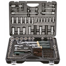 Tool set 150 + 6pcs 1/4'', 3/8'', 1/2''(6 point, 4-36mm, 3/8'': 10-19mm 12 point, 1/2'': 27, 30, 32, 36-