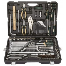 Tool set 142 + 6pcs (1/4'', 3/8'', 1/2'', 6 point, 4-36mm, 27,30,32,36-12 point +ratchet wrenches: 8х10
