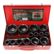 Deep impact socket set with extension 6 point, 150mm, 14pcs, 3/4''(17,19,22,24,27,30,32,36,41,46,50,