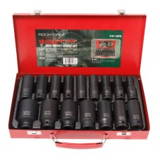 Deep impact socket set, 16pcs, 1/2'', 6 point (10,12,13,14,15,16,17,18,19,21,22,24,27,30,32,36mm), in