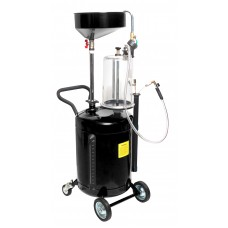 Vacuum waste oil extraction and drain machine with prechamber, funnel and dipstick gauge kit 90L