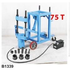 Съемник гидравлический выпрессовщик шкворней грузовых авто 75т с пневмо насосом и комплектом надставок