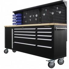 Верстак металлический передвижной 485х1480х2130мм (перфорация: 530х2130мм, деревянная столешница: 40х485х2130мм, шкаф одностворчатый: 460х590х680мм)