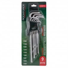 L-type extra long Torx-wrenches set 9pcs (T10Н, T15Н, T20Н, T25Н, T27Н, T30Н, T40T, T45Н, T50Н with