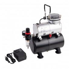 Миникомпрессор безмасляный (ресивер 3л, производительность 23л/мин, рабочее давление 3-4bar)+переходник